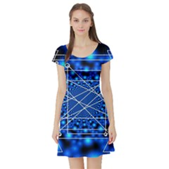 Network Connection Structure Knot Short Sleeve Skater Dress