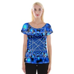 Network Connection Structure Knot Women s Cap Sleeve Top