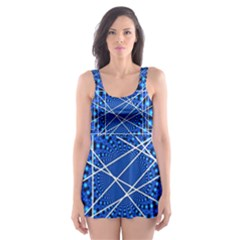 Network Connection Structure Knot Skater Dress Swimsuit