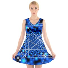 Network Connection Structure Knot V Neck Sleeveless Skater Dress