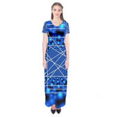 Network Connection Structure Knot Short Sleeve Maxi Dress