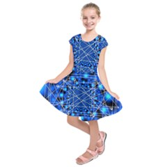 Network Connection Structure Knot Kids  Short Sleeve Dress