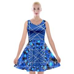 Network Connection Structure Knot Velvet Skater Dress