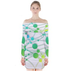 Network Connection Structure Knot Long Sleeve Off Shoulder Dress