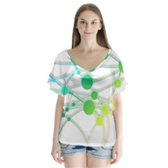 Network Connection Structure Knot Flutter Sleeve Top