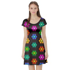 Pattern Background Colorful Design Short Sleeve Skater Dress