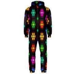 Pattern Background Colorful Design Hooded Jumpsuit (men)