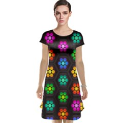 Pattern Background Colorful Design Cap Sleeve Nightdress