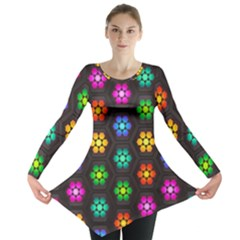 Pattern Background Colorful Design Long Sleeve Tunic