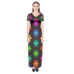 Pattern Background Colorful Design Short Sleeve Maxi Dress