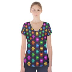Pattern Background Colorful Design Short Sleeve Front Detail Top
