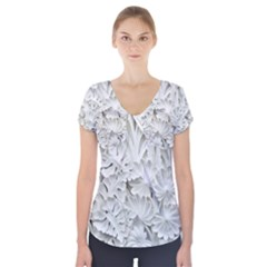 Pattern Motif Decor Short Sleeve Front Detail Top