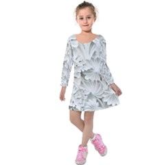Pattern Motif Decor Kids  Long Sleeve Velvet Dress
