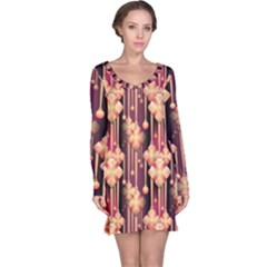 Seamless Pattern Long Sleeve Nightdress