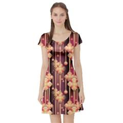 Seamless Pattern Short Sleeve Skater Dress