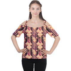 Seamless Pattern Women s Cutout Shoulder Tee