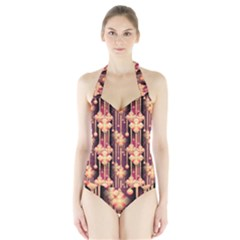 Seamless Pattern Halter Swimsuit