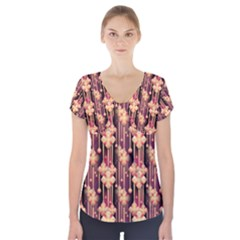 Seamless Pattern Short Sleeve Front Detail Top