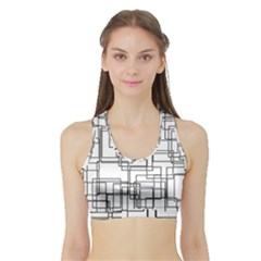 Structure Pattern Network Sports Bra With Border