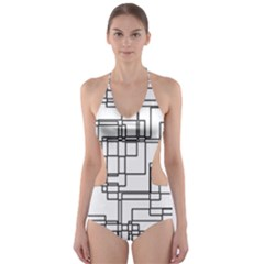 Structure Pattern Network Cut Out One Piece Swimsuit