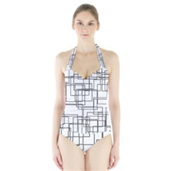 Structure Pattern Network Halter Swimsuit