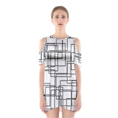 Structure Pattern Network Shoulder Cutout One Piece
