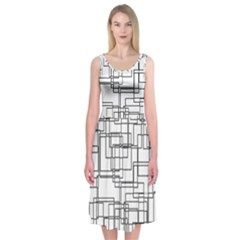 Structure Pattern Network Midi Sleeveless Dress