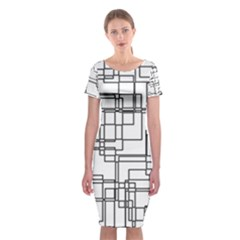 Structure Pattern Network Classic Short Sleeve Midi Dress