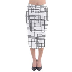 Structure Pattern Network Midi Pencil Skirt