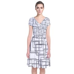 Structure Pattern Network Short Sleeve Front Wrap Dress
