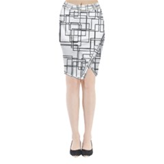 Structure Pattern Network Midi Wrap Pencil Skirt