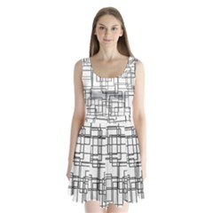 Structure Pattern Network Split Back Mini Dress