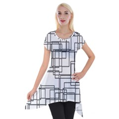 Structure Pattern Network Short Sleeve Side Drop Tunic