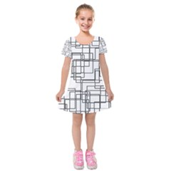 Structure Pattern Network Kids  Short Sleeve Velvet Dress