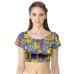 Square Background Background Texture Short Sleeve Crop Top (tight Fit)