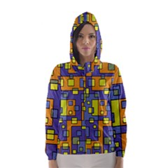 Square Background Background Texture Hooded Wind Breaker (women)