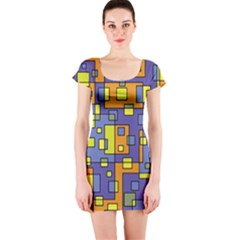 Square Background Background Texture Short Sleeve Bodycon Dress