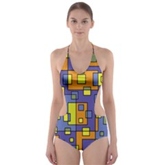 Square Background Background Texture Cut Out One Piece Swimsuit