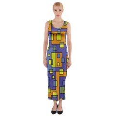 Square Background Background Texture Fitted Maxi Dress
