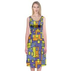 Square Background Background Texture Midi Sleeveless Dress
