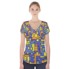 Square Background Background Texture Short Sleeve Front Detail Top