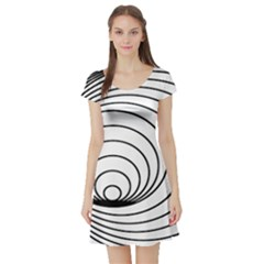 Spiral Eddy Route Symbol Bent Short Sleeve Skater Dress