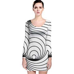 Spiral Eddy Route Symbol Bent Long Sleeve Velvet Bodycon Dress
