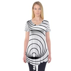 Spiral Eddy Route Symbol Bent Short Sleeve Tunic