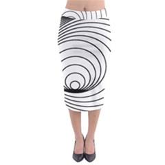 Spiral Eddy Route Symbol Bent Midi Pencil Skirt