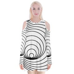 Spiral Eddy Route Symbol Bent Velvet Long Sleeve Shoulder Cutout Dress