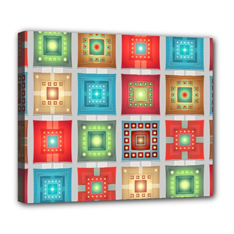 Tiles Pattern Background Colorful Deluxe Canvas 24  X 20