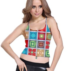 Tiles Pattern Background Colorful Spaghetti Strap Bra Top