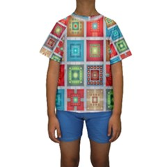 Tiles Pattern Background Colorful Kids  Short Sleeve Swimwear