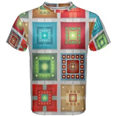 Tiles Pattern Background Colorful Men s Cotton Tee